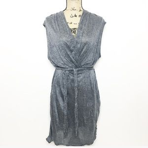 Letarte Gray Knit Belted Cover Up Dress